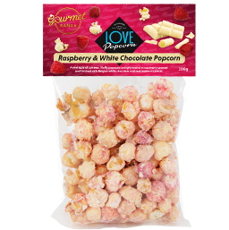 Raspberry & White Chocolate Popcorn